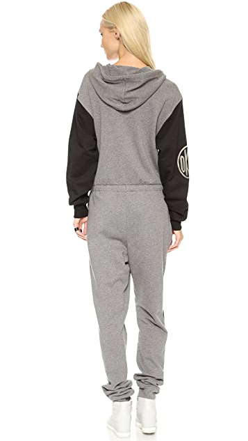 DKNY x Opening Ceremony Colorblocked Long Sleeve Hooded Jumpsuit