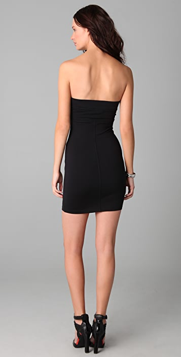 David Lerner Strapless Dress with Leather Insert