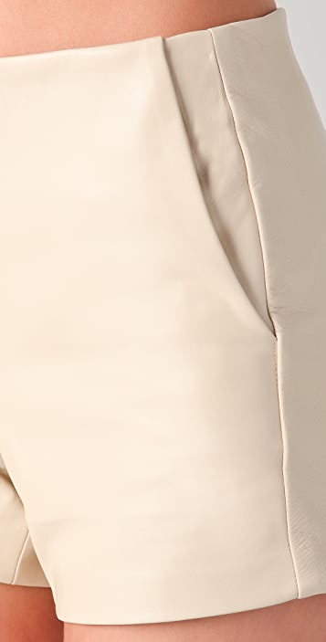 David Lerner High Waisted Leather Shorts