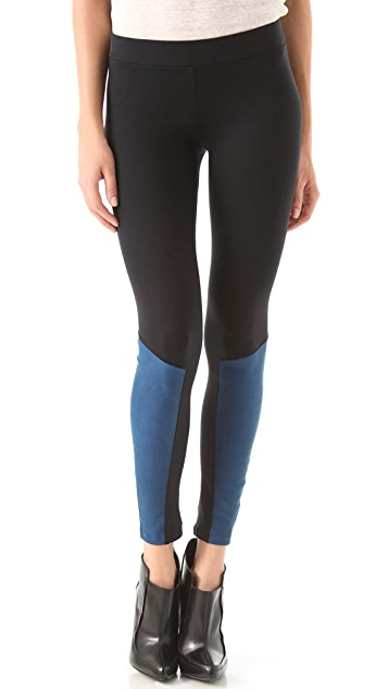 David Lerner Leather Inset Leggings