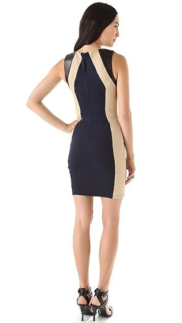 David Lerner Colorblock Leather Mini Dress
