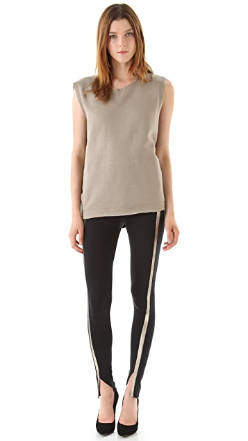 David Lerner Leather Stripe Leggings with Split Ankles