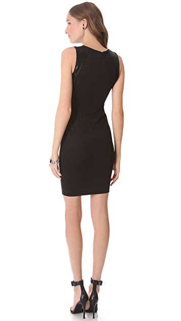 David Lerner Mini Dress with Leather Shoulders