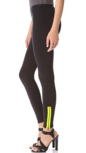 David Lerner Neon Side Zip Leggings