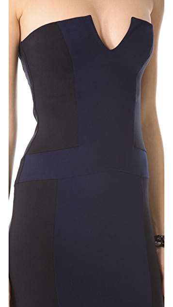 David Lerner Strapless Colorblock Dress