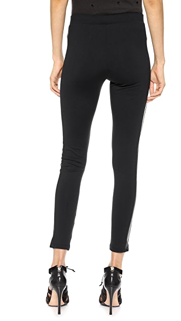 David Lerner Tuxedo Leggings with Faux Leather