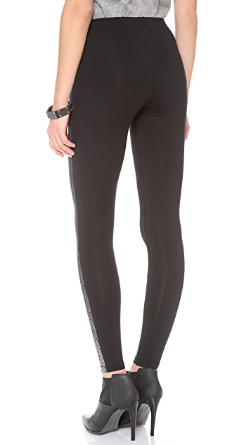 David Lerner Coated Metallic Tuxedo Leggings