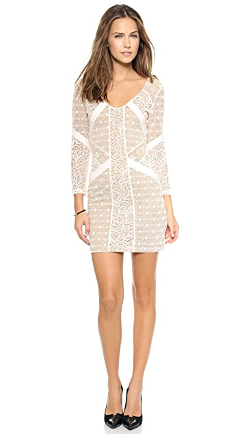 David Lerner Pieced Lace Dress