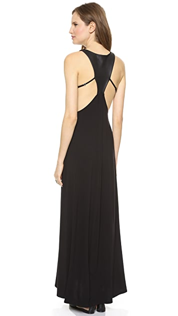 David Lerner Leather Panel Back Maxi Dress