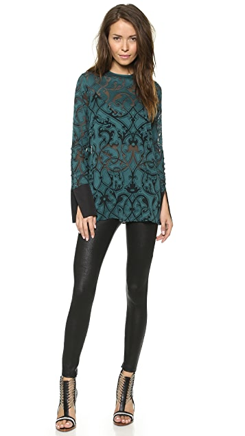David Lerner David Lerner x Maleficent Coated Lizard Zip Leggings