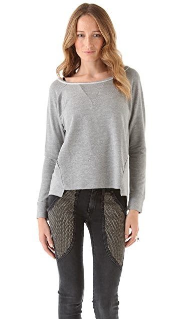 Dolan Raglan Sweatshirt with Uneven Hem