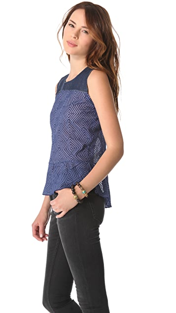 Dolan Denim Yoke Peplum Top