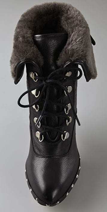 Dolce Vita Hawk Lace Up Clog Booties with Shearling Cuff