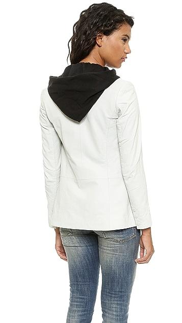 Doma Leather Blazer with Detachable Hood