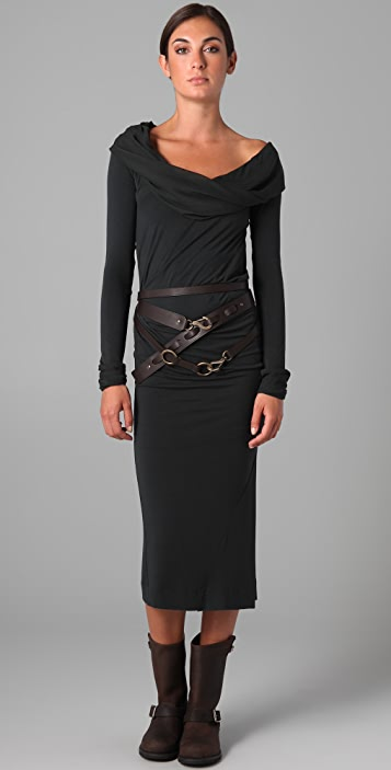Donna Karan Casual Luxe Cowl Neck T-Shirt Dress