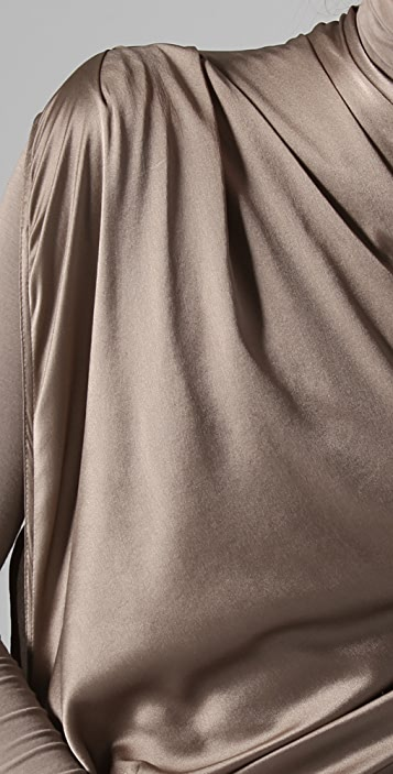 Donna Karan Casual Luxe Draped Dress with Jersey Under Layer