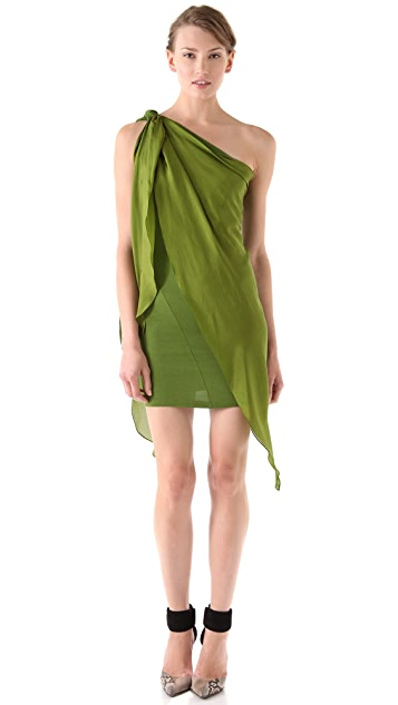 Donna Karan Casual Luxe One Shoulder Drape Scarf Tunic