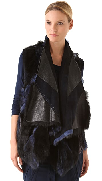 Donna Karan Casual Luxe Reversible Patched Shearling Vest