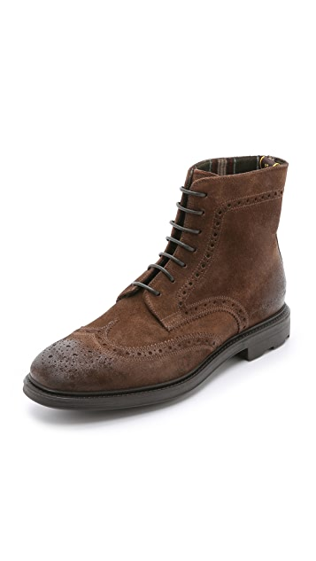 Doucal's Aosta Suede Wingtip Lace Up Boots
