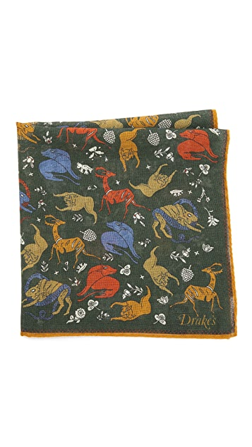 Drake's Predators & Prey Print Pocket Square
