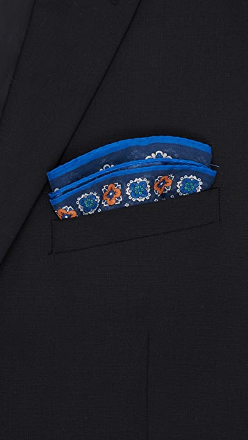 Drake's Multiple Medallion Print Pocket Square