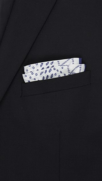 Drake's Artisanal Hand Block Pocket Square