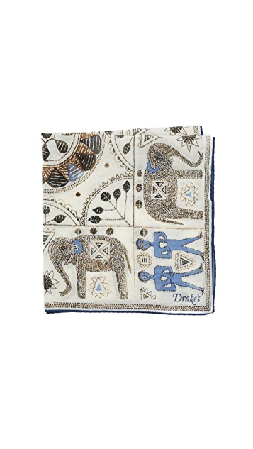 Drake's Embroidered Elephant Pocket Square