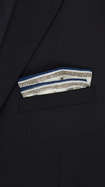 Drake's Embroidered Elephant Pocket Square