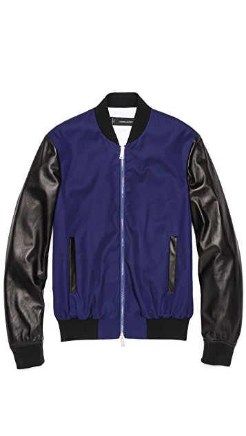 DSQUARED2 Chic Nylon Bomber with Leather Sleeves