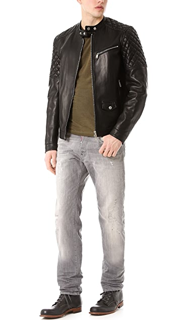 DSQUARED2 Lamb Leather Jacket