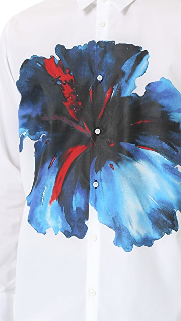 DSQUARED2 Blue Hibiscus Trapeze Shirt