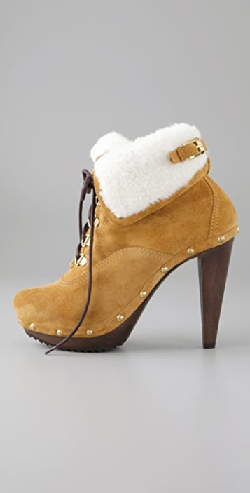 DSQUARED2 Shearling Booties on Wooden Bottom