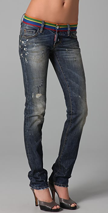 DSQUARED2 Slim Jeans with Colored Waistband