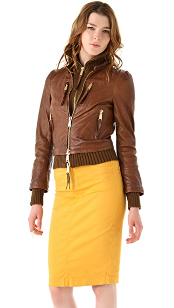DSQUARED2 Kinky Knit Leather Jacket
