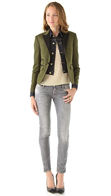 DSQUARED2 Siamese Tux Blazer with Denim Inset