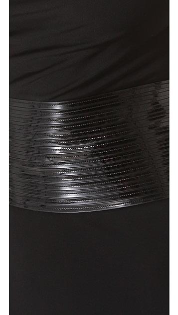 DSQUARED2 Draped Jersey Dress with Patent Belt