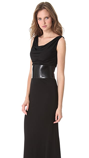 DSQUARED2 Draped Jersey Gown with Patent Belt