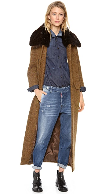 DSQUARED2 Anita Coat with Beaver Fur Collar