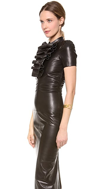 DSQUARED2 Peggy Ruched Leather Dress