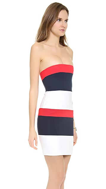 DSQUARED2 Colorblock Strapless Dress