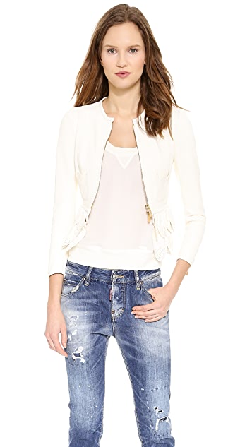 DSQUARED2 Ruffle Leather Jacket