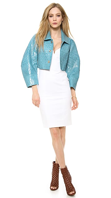 DSQUARED2 Embossed Leather Cropped Jacket