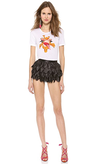DSQUARED2 Leather Ruffle Mini Shorts