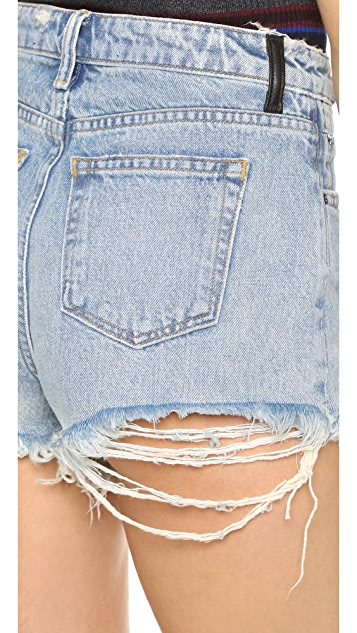 Denim x  Alexander Wang Bite High Rise Frayed Shorts