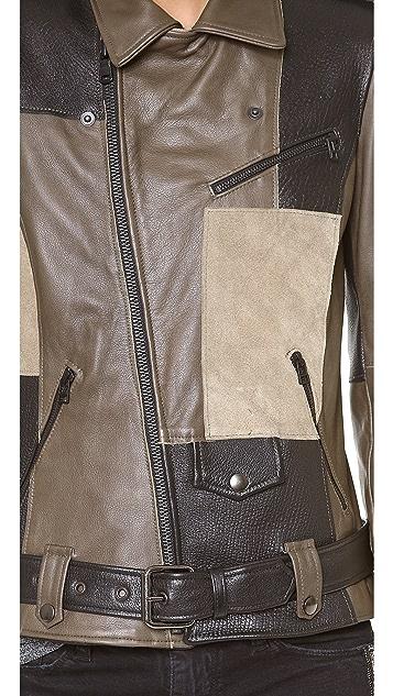 EACH x OTHER Thomas Lelu Patchwork Biker Jacket