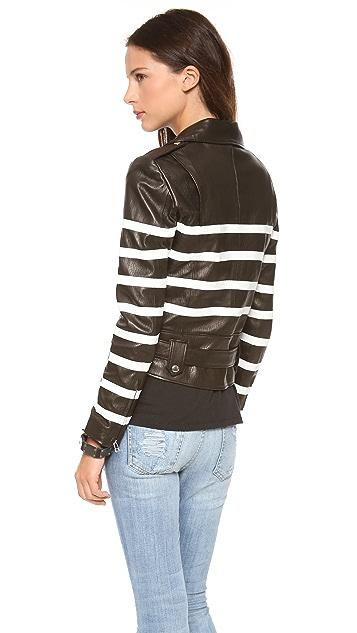 EACH x OTHER Naco Striped Leather Biker Jacket