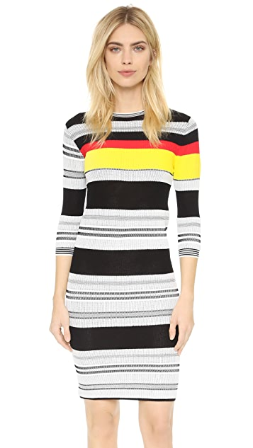 Edition10 Short Sleeve Striped Dress