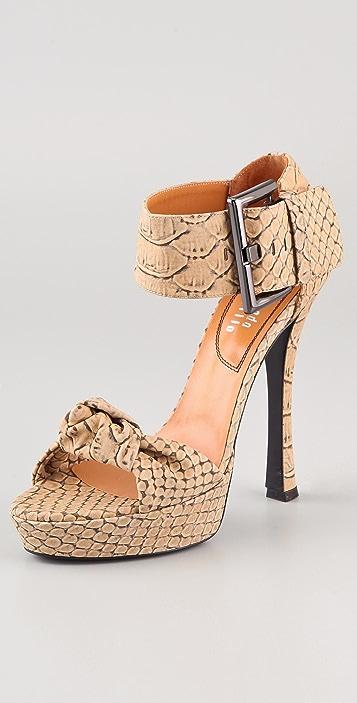 Edmundo Castillo Eva Printed Python Sandals