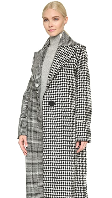 EDUN Raw Edge Plaid Coat