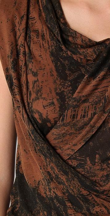 EDUN Lace Print Wrap Draped Fringe Dress